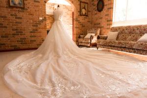 long train custom made wedding gown