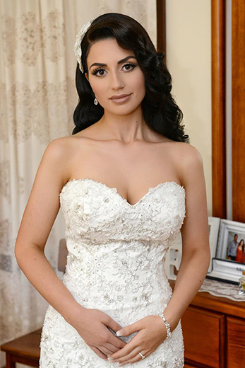 white strapless beaded wedding gowns