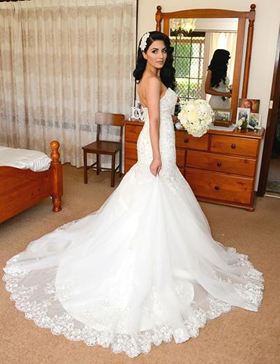 white strapless tie back wedding gowns